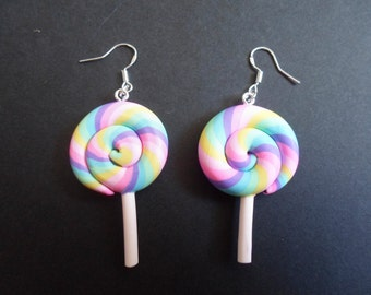 PREMADE One Pair of Rainbow Large Lollipop Sterling Silver Earrings