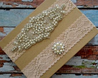 Blush Wedding Garter, Rhinestone & Pearl Wedding Garter Belt, Blush Lace Rhinestone Bridal Garter Set, Bridal Garter Set, Blush Garter