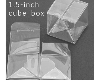 50 - 1.5 inch Mini Cube Boxes - Crystal Clear Packaging for candy, favors, jewelry miniatures - great Truffle box