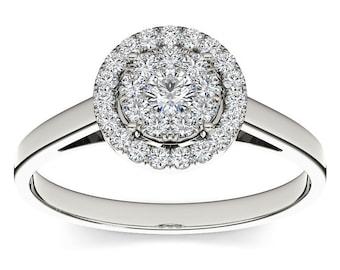 10Kt White Gold Diamond Engagement 0.33 Ct Ring