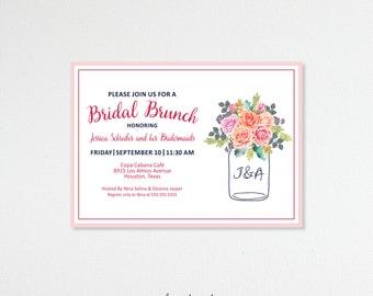 Bridal Shower Invitations, Bridal Brunch, Bridesmaids' Luncheon, Tea Party, Customized, Printable, Digital, BW11003