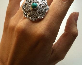 Turquoise Ring, Mandala Ring, Sterling Silver Rings, Concho Ring, Lotus Boho Chic Ring, Statement, Gypsy Ring, Wanderlust, Statement Ring