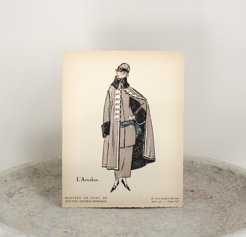 1922 art deco pochoir print gazette du bon genre published for Pochoir deco