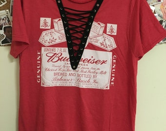 LF Inspired Lace Up Tee Red Budweiser Lace up
