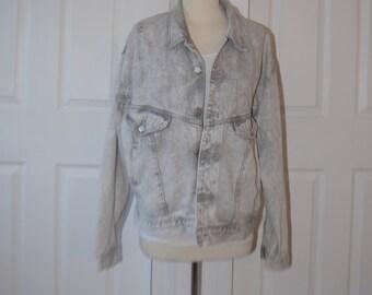 Light Grey 'Code Bleu' Denim Jacket /Jean Jacket - Men's Small / Women's M