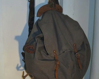 Vintage Scandinavian Rucksack Backpack Laptop Bag Made of Heavy Cotton Canvas, and Leather
