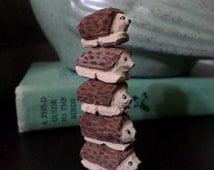 Miniature Hedgehog Totem - Hand Carved Basswood tiny sculpture Mini Hedgehog Figurine Toy woodland forest animal charm Lavender Leaf Designs