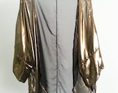 Metallic Gold Swimsuit Cover up Caftan Beach Kimono Chiffon Sheer Handmade Extended Sleeves