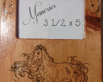 Horse Themed Handmade wooden picture frame