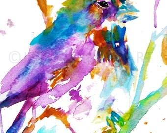 Print of Bird Painting, Watercolor Bird Print, Colorful Bird Print, Abstract Bird Art, Fine Art Bird Painting, Watercolor Animal, Bird Print