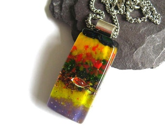 Red, Gold, emerald & purple, dichroic glass pendant, statement necklace, Dichroic Fused glass, party jewellery, for her, birthday gift NL903