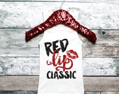 Baby Girl Clothes Red Lip Classic Tank Fashion Shirt Girl's Shirt Glitter Shirt Shirt Baby Girl Clothes #24