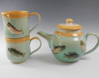 Fish teapot set - teapot and mug set - pottery tea set - ceramic teapot set -  fish tea set - S125