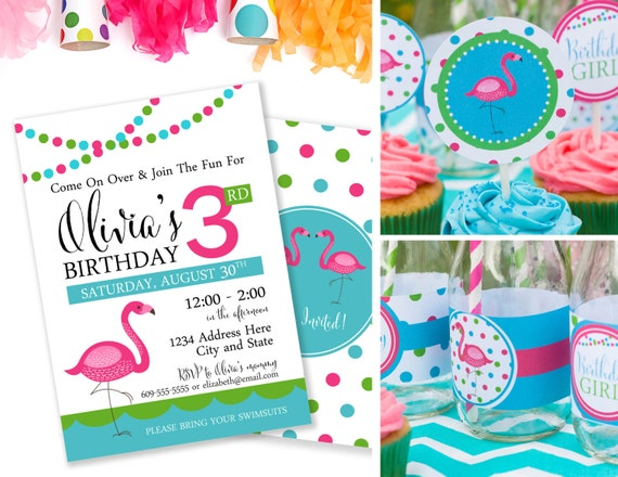 Flamingo Party Kit Flamingo Birthday Girls Birthday Pool Party