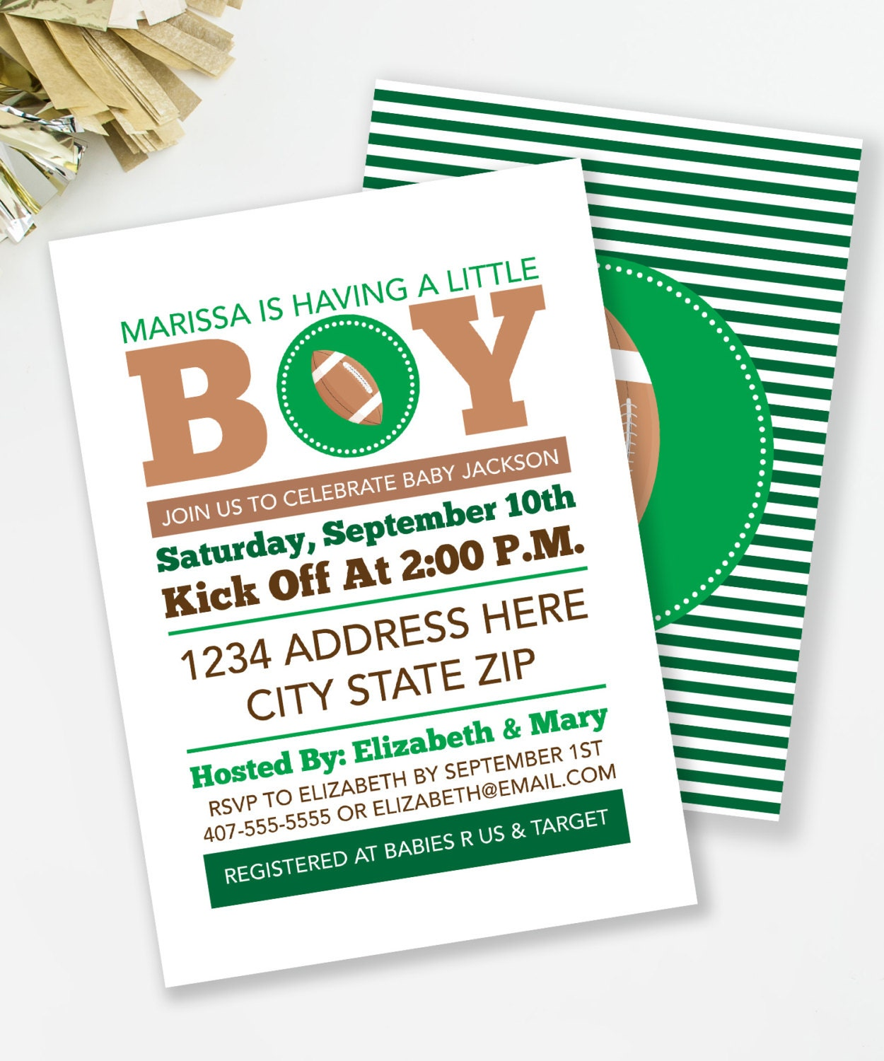 football baby shower invitation sports baby shower by mkkmdesigns