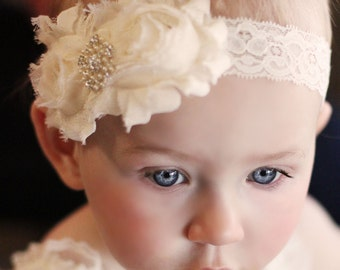 Baptism Headband.Christening Headband..Headband.Newborn Headband.Baby Girl Headband..Headband..Infant Headband..Baby Headband.Baby Headbands