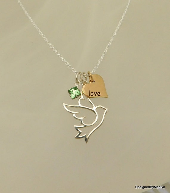 Sterling silver dove of peace charm necklace, symbol of peace, confirmation necklace, spiritual necklace, gold heart necklace, birthstone