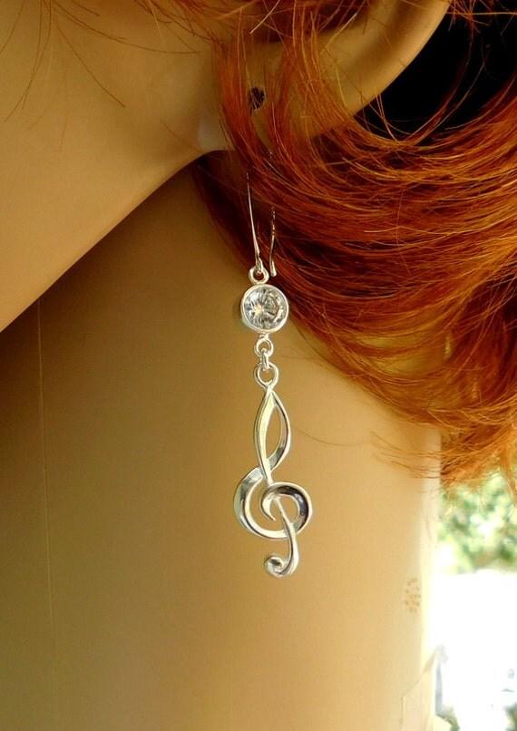 Sterling silver treble clef earrings, musician earrings, treble clef jewelry, music instructor