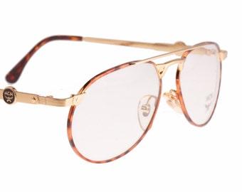 MCM München 72 C04 golden - tortoise aviator eyeglasses - sunglasses frames hand made in Germany, NOS 1990s