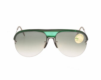 Marcolin hand made in Italy silver + bottle green aviator sunglasses with green fade lenses, NOS 1970s