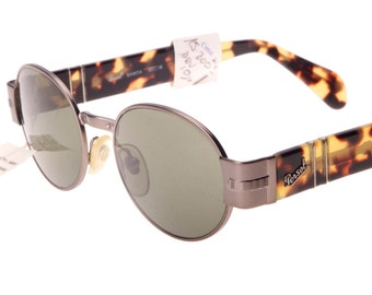 """Persol """"Samoa"""" round - oval gunmetal and havana sunglasses with green crystal Persol lenses, NOS 80s"""