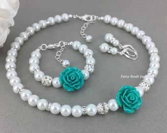 Flower Girl Jewelry Set, Flower Girl Jewelry, Flower Girls Gift, Teal Flower and White Pearl Necklace Set, Teal Necklace, Teal Bracelet