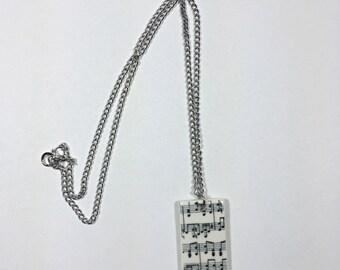 music notes porcelain necklace
