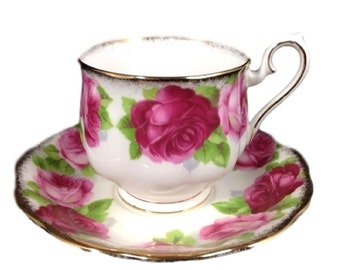 Royal Albert Bone China Cup Saucer Old English Roses, Vintage English Tea Set, Gift For Her