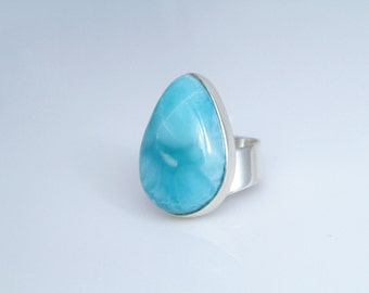 Larimar Ring, Large Larimar Stone Pear Shaped, Ring size 8.5