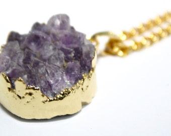 Amethyst Druzy Gold Necklace Druzy Necklace Amethyst Necklace Gold Amethyst Necklace Gold Amethyst Druzy