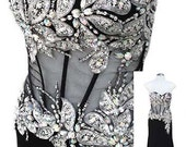 Strapless Black Evening Gown with Peek A Boo Waist and Silver Sequins and Beading - Fits Size XSmall