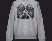 Screen Printed Canine Skull, Moth and Tooth Pointillism Unisex Sweatshirt