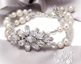 Wedding Bracelet Swarovski Pearl Zirconia Bridal Bracelet Wedding Jewelry Bride bracelet Bridesmaid bracelet Wedding Accessories Sasa Ava