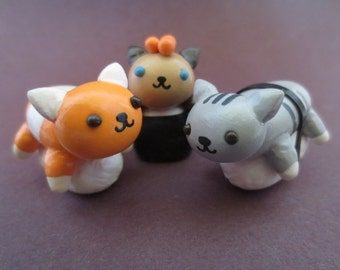Polymer Clay Sushi Cat Figurine