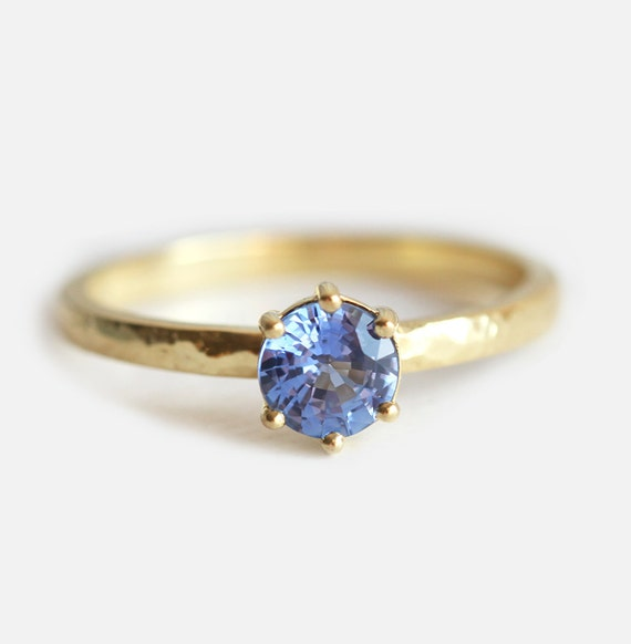 Solitaire Sapphire Ring Blue Sapphire Engagement Ring Prong