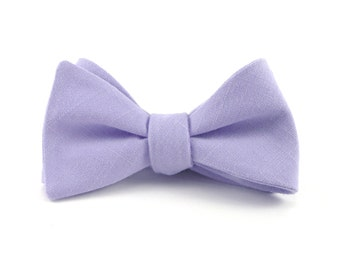 Lilac Bow Tie, Pale Lavender Lilac, Light Purple Linen Bowtie, Wedding Bow Ties, Groomsmen Pale Lavender - Traditional Self-Tie or Pre-Tied