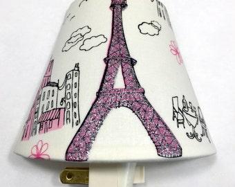 Eiffel Tower Paris Night Light / Hallway / Baby Shower Gift / Nursery Decor / Kid's Bedroom / Plug In Night Light / Home / Pink Glitter