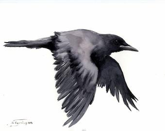 "Flying crow 16"" X 12"", original watercolor painting"