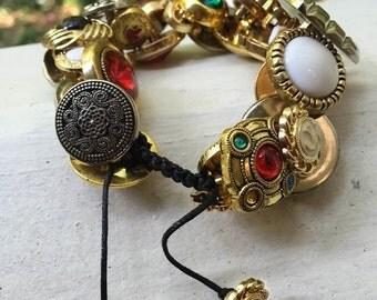 Gold Button Bracelet
