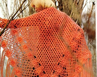 Crochet Mohair Shawl Pattern - Vintage 70s Crochet Poncho - Sweater Shawl Wrap - PDF Instant Download - Digital Pattern - Lacy Wrap Coat