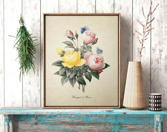 Botanical Print Rose Bouquet Print Home Decor Roses Natural History Flower Floral Print Rose Reproduction FL039
