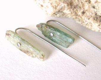KYANITE Raw Crystal Long Post Earrings-Gemstone Earrings, Green Earrings, Long Stud Earrings, Green Kyanite, Kyanite Earrings, Rough Cut