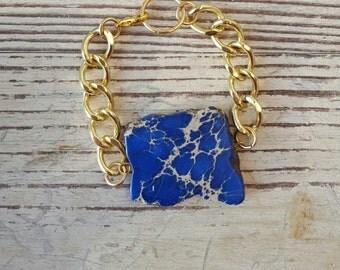 Sapphire Blue Statement Bracelet -Turquoise Stone Statement Bracelet