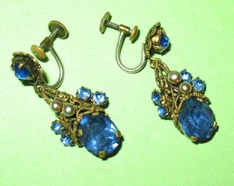 1920s Czech Earrings, Czechoslov Signed Blue Glass Screw Back Earrings, Faceted Blue Glass and Pearl Art Deco Earrings, Art Nouveau Earrings