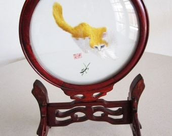 Chinese Cat & Cricket Double Sided Silk Embroidery Art Table Screen Carved Wood Base Handmade Asian
