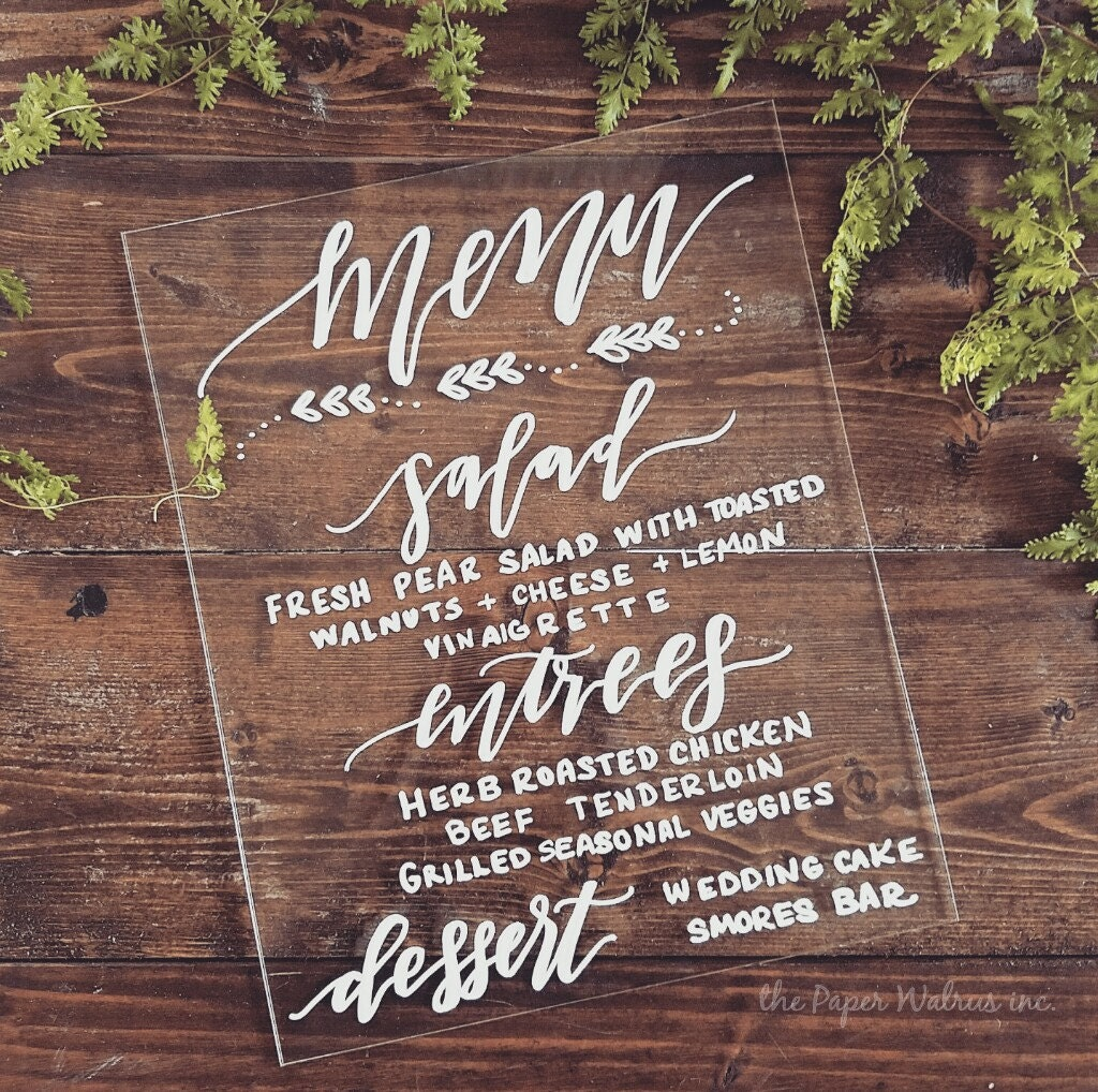 Custom menu sign calligraphy wedding by