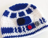 Newborn R2D2 Beanie, Sci-Fi Crochet Hat, Star Wars, Made to order