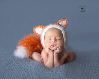 Fox Hat and Bushy Tail, Newborn Photo Prop, Made to Order