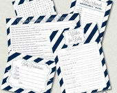 Navy and White Baby Shower Games, Navy and Silver Printable Games, Boy Baby Shower, Gender Neutral, Word Search, Wishes, Printable PDF files