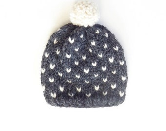 SALE Fair Isle Knit Kids Hat / THE Little ENDERBY / Charcoal and Snow